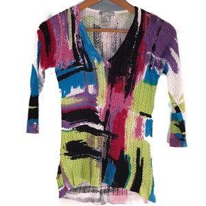 Alberto Makali Abstract Art Lite Knit Sweater sz M